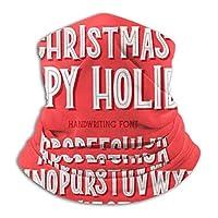 メンズネックウォーマー クリスマスフォント 季節の願いとお祝いのイラストと休日のタイポグラフィアルファベット 春 秋 冬 防寒対策 保温 防風 裏ボア ふわふわ 暖かい 首巻き 無地 男女兼用 小顔効果抜群 26X30CM