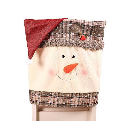 Vertvie Weihnachten Stuhlhusse Stuhlabdeckung Stuhlbezug für Weihnachtstisch Festlich Dekoration Home Party Weihnachtsmann Red Hat Stuhl(Graues Gitter,48 * 50CM)