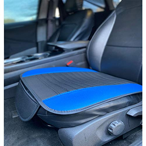 C.P.R. New Breathable PU Leather Seat Cushion Pad for Cars SUV Trucks Auto Office Chair (Front Piece (1), Blue & Black)