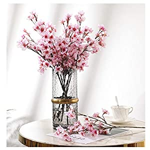 4Pcs Artificial Flowers Peach Blossom Simulation Peach Branches Flowers Silk Peach Flowers Bouquets Faux Spring Peach Artificial Orchid Fake Plants for Wedding Home Indoor Decorative (Pink)