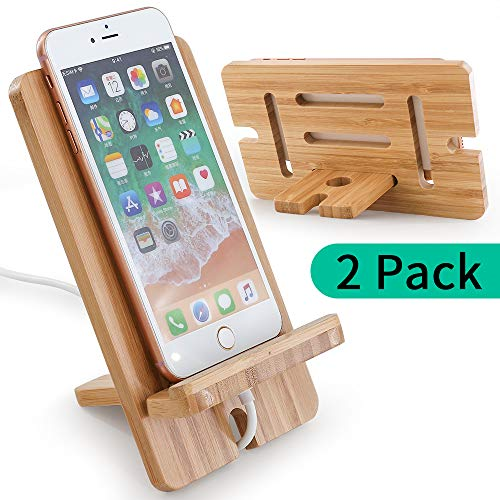 Cell Phone Stand Holder, (2 Pack)Bamboo Wooden Tablet Stand Universal Smartphones Compatible with Holder Tablets, Compatible with iPhone X/8/8 Plus/7/7 Plus, Galaxy S8,S7/Note 8, Air, Mini, Pixel 2