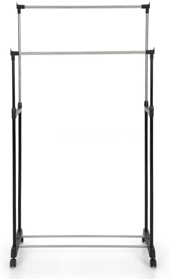 JTW- Heavy Duty Hanger Double Pole Adjustable Rolling Clothes Rack Hanging Portable Space Saving & conveniently & Heavy Hanger Stainless Steel and PP Plastic Silver Capacity Wight: 66 lbs Black Color