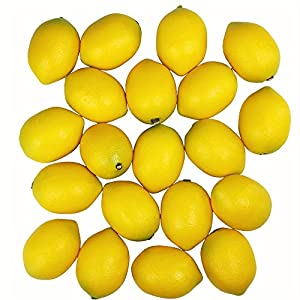 20 pcs Fake Lemons Decorations Faux Fruits Artificial Yellow Lemons for Lemon Wreath Garland Lemonade Party Kitchen Table Summer Spring Décor Fruit Bowl Vase Fillers Photography Props