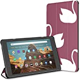 Kindle Case PU Leather Smart Cover White Swan Symbol Love Vintage Tablet Case 10 Inch Kindle Fire HD 10 Inch Tablet Case(9th Gen 2019/7th Gen 2017) with Auto Wake/Sleep
