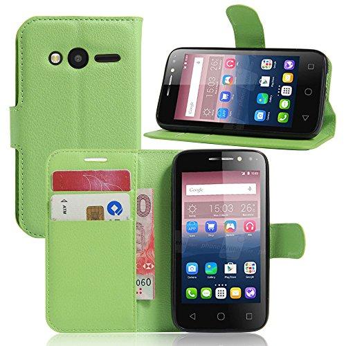 Tasche für Alcatel Pixi 4 (4.0 zoll) Hülle, Ycloud PU Ledertasche Flip Cover Wallet Hülle Handyhülle mit Stand Function Credit Card Slots Bookstyle Purse Design grün