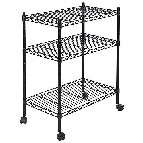 ZENY 3-Shelf Heavy Duty Shelving Storage Unit with Casters, Metal Organizer Wire Rack for Kitchen, Office, Garage, Black