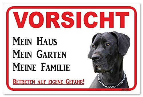 AdriLeo Schild - Vorsicht Deutsche Dogge - Mein Haus - (20x30cm) / Graues Fell Achtung Hund Wachhund