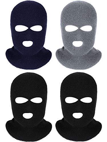 4 Pieces 3-Hole Full Face Cover Ski Mask Winter Balaclava Warm Knit Full Face Mask (Black Grey Navy Blue)