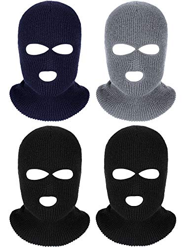 4 Pieces 3-Hole Full Face Cover Ski Mask Winter Balaclava Warm Knit Full Face Mask (Black Grey Navy Blue)