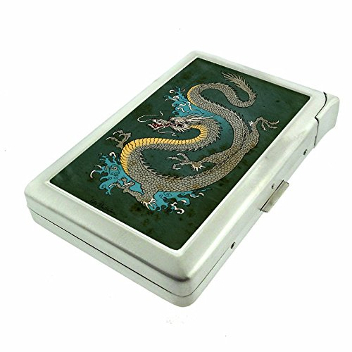 """Cigarette Case with Built in Lighter Vintage Japanese Dragon Art S1 Smoking King Size Cigarettes Silver Metal Wallet 4"""" X 2.75"""" RFID Protection"""