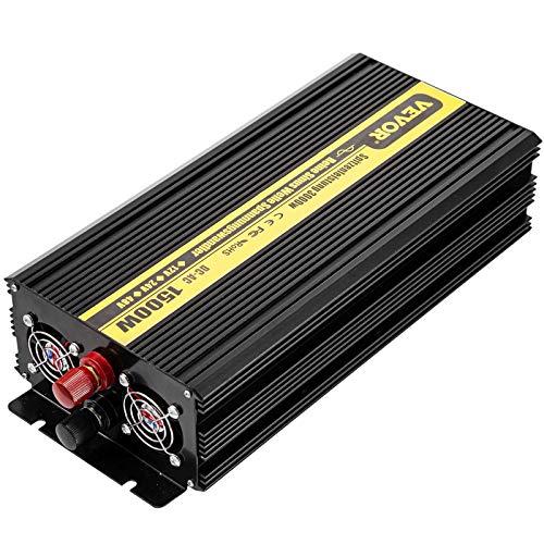 VEVOR Inverter a Onda Sinusoidale Pura ZPX-1500W, Potenza di Uscita 1500W, da 12V CC a 230V CA, con Telecomando e 2 Cavi, Inverter Onda Pura 12V 230V 1500W, Invertitore Convertitore di Potenza