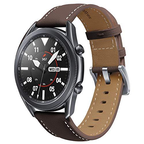 Miimall Pulsera de Reloj Compatible con Samsung Galaxy Watch 3 41mm, Cuero Premium Ajustable Correa de Respuesto de Reloj para Samsung Galaxy Watch 3 41mm - Cafe