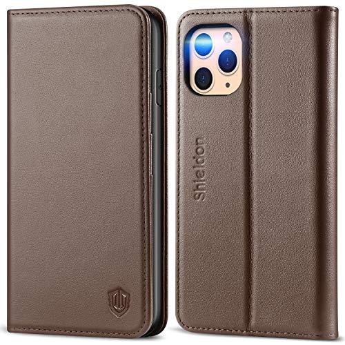 SHIELDON iPhone 11 Pro Max-hoesje, Wallet-hoesje met Automatisch Wekken/Slapen, RFID-blokkering, Kaartsleuven, Standaard, TPU-schaal, Compatibel met iPhone 11 Pro Max (6,5 inch), Koffie