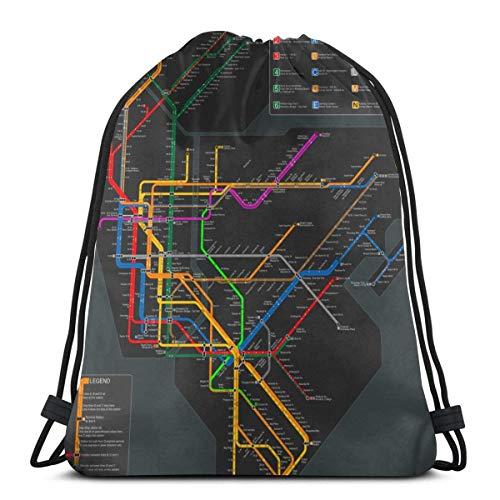 N / A Tunnelzug Gymsack,Hipster Rucksack Pe,Sport Tanz Tasche,Unisex Drawstring Backpack,Trainer-Tasche,Gym Sack,Tasche Gymsack Tasche,New Yorker U-Bahn-Karte Rucksack Beutel Tasche