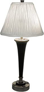 Black & Brass Finish Modern Dual Light Table Lamp w/Power Outlets