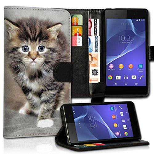 wicostar Book Style Wiko Sunset 2 Premium PU-Leder Tasche Flip Brieftasche Handy Hülle Kartenfächer mit Standfunktion für Wiko Sunset 2 - Design Flip MVC4