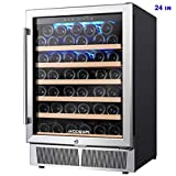 BODEGA 24'' Wine Cooler,Built-in or Freestanding Wine Refrigerator 52 Bottle Fits large Bottle like Champagne And Wine,Single Zone Temperature Memory Function With Stainless Steel Housing,Glass Door