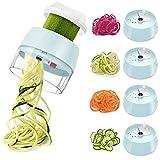 Espiralizador 4 en 1 de mano de verduras espiralizador cortador de alimentos cortador espiral de mano de calabacín fideos y pasta vegetariana y espaguetis Maker-azul