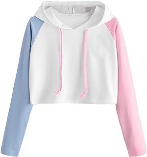 Dubocu Women's Tops Girl Patchrk Long Sleeve Crop Jumper Pullover