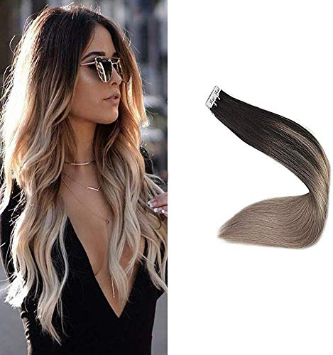 Full Shine Tape in Extensions Echthaar Balayage 22zoll 50g Color Off Black Mix mit Ash Blonde Echthaar Extensions Tape in Full Head Hair Extensions Haarverlaengerung Tape Blond