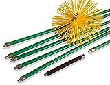 Kibros 5KIT25Nb | Kit de deshollinador profesional de conductos forrados | erizo sintético | diámetro 250 mm | 8,50 m en 6 cañas autobloqueantes | muelle de salida, estufas | calderas | canalones