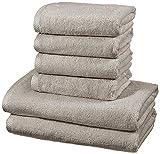 AmazonBasics - Juego de 6 toallas de secado rápido, 2 toallas de baño y 4 toallas de mano - Gris