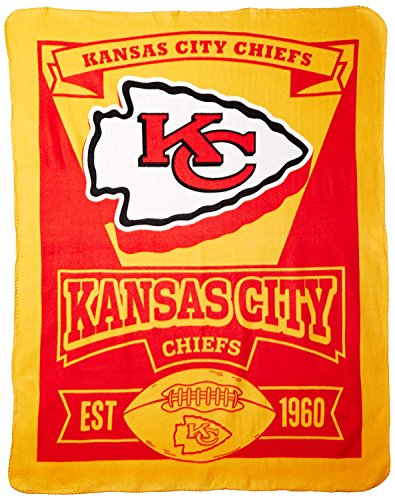 Officially Licensed NFL Kansas City Chiefs 'Marque' Printed Fleece Throw Blanket, 50' x 60', Multi Color