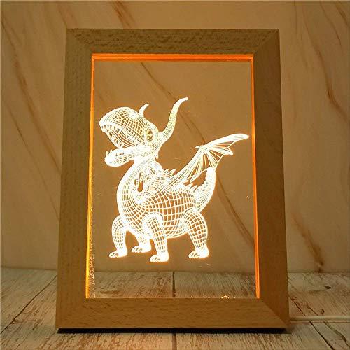 Dinosaurus nachtlampje van massief houten frame lamp studio tafel decoratie licht LED Luce Calda Bianca A Tre Colori