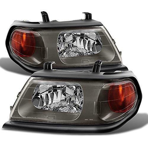 VIPMOTOZ Gray Housing OE-Style Headlight Headlamp Assembly For 2000-2004 Mitsubishi Montero Sport, Driver & Passenger Side