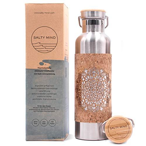 Salty Mind nachhaltige, isolierte Edelstahl Trinkflasche 750ml - Thermo Wasserflasche, auslaufsicher, schadstofffrei, geschmacksneutral | Kork Yoga Mandala Tragegriff
