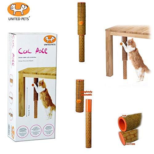 United Pets AP0402AR Cat Pole Tiragraffi in Cocco e Rattan con Particolari Arancio - 1 kg