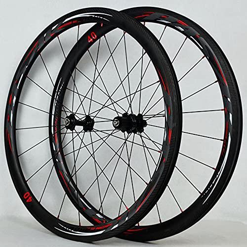 ZHTT Ruedas de Bicicleta de Fibra de Carbono, aleación de Aluminio de 40 mm, Juego de Ruedas de llanta Gruesa, buje de Bicicleta de liberación rápida, Rueda de Bicicleta, Juego de Ruedas de Bicicleta