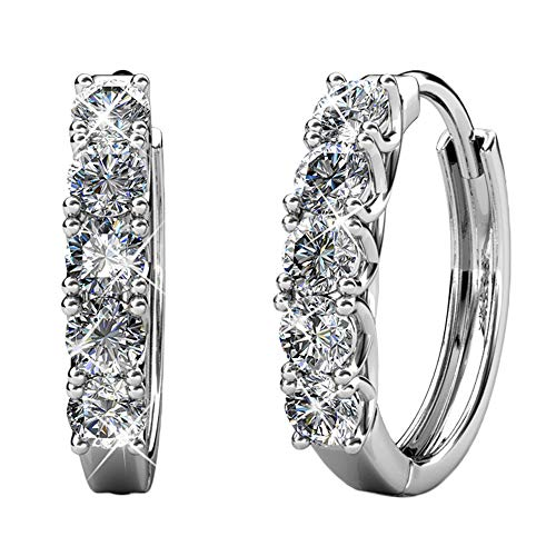 Cate & Chloe Bethany Strong White Gold Hoop Earrings, 18k Gold Hoop Earrings with Large Swarovski Crystals, Silver Hoop Earring Set for Women, Wedding Anniversary Jewelry (White Gold)