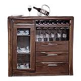 Aparadores Negro Walnut Buffet Servidor aparador Mesa Mesa de Madera Mesa de Comedor Mesa de Vino para Sala de Estar (Color : Brown, Size : 135x40x80cm)