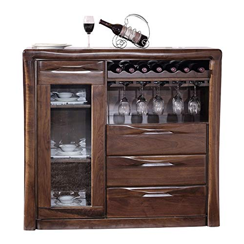 Ofgcfbvxd Gabinetes multifuncionales Negro Aparador de la Nuez de la Consola Mesa de Comedor de Madera Maciza Comedor gabinete gabinete del Vino Aparador de Cocina (Color : Brown, Size : 135x40x80cm)