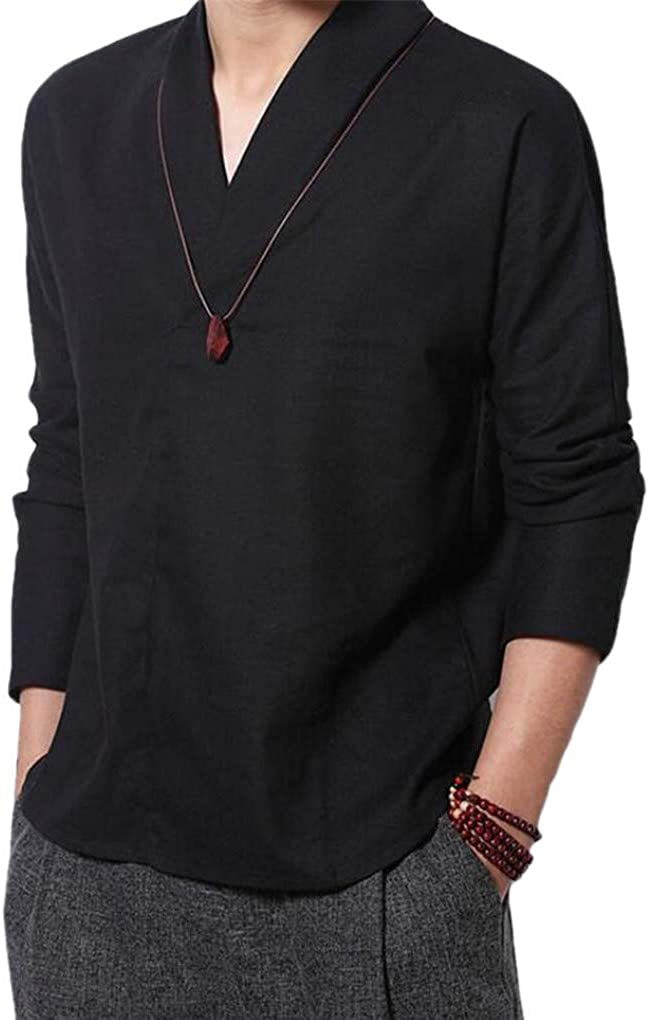Cafuny Men's Casual Long famous Sleeve Natural low-pricing Style Gentle Linen Solid