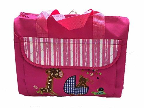 Lalia Wickeltasche 40x34x20cm rosa, bestickt Giraffe groß. mit Wickelauflage, viele Taschen und Fächer, groß, pink