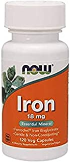 NowFoods Iron 18 mg Essential Mineral 120 Veg Capsules