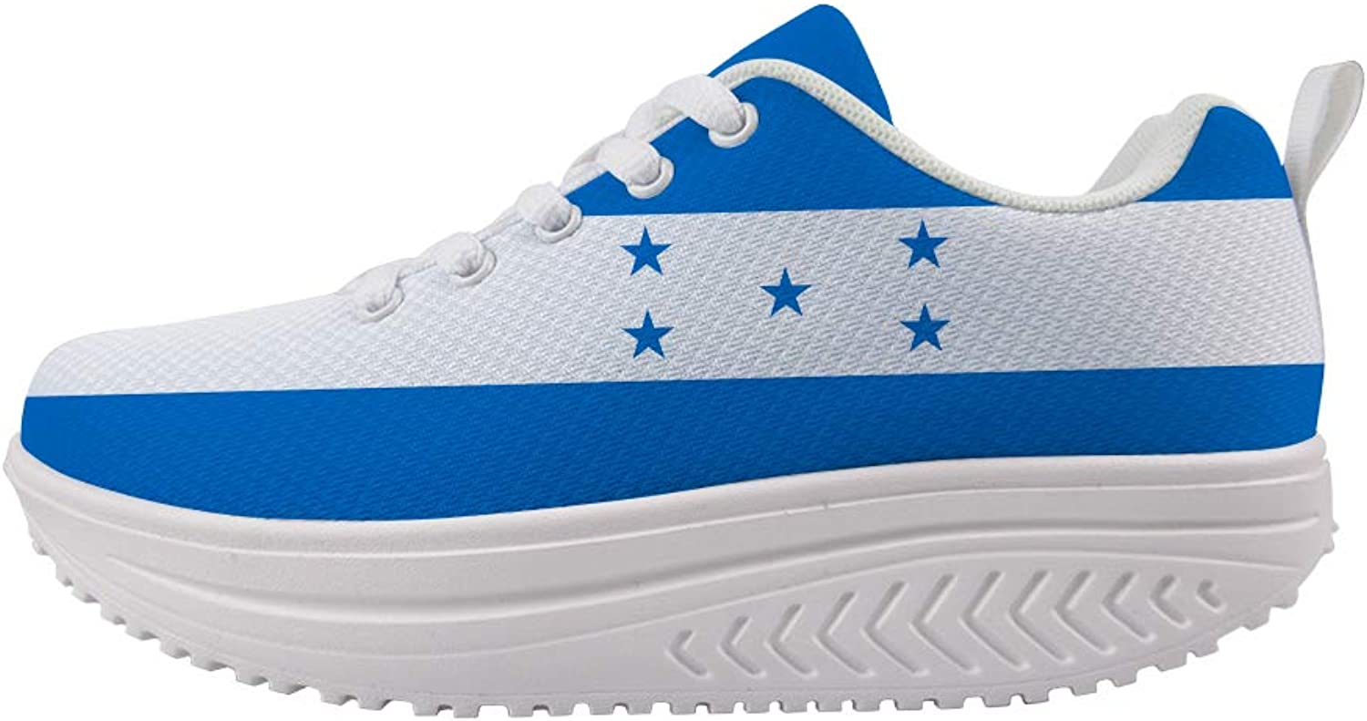 Owaheson Swing Platform Toning Fitness Casual Walking shoes Wedge Sneaker Women Honduras Flag