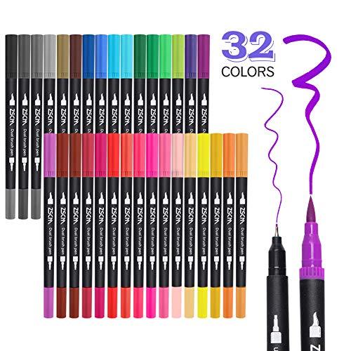 ZSCM 32 Farben Dual Spitze Pinselstifte Art Marker Set, feine und Pinselspitze farbiger Doppelstift für Kinder Erwachsene Malbuch Zeichnen Bullet Journal Planer Kunstprojekte