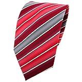 TigerTie Krawatte rot verkehrsrot tomatenrot creme grau gestreift - Tie Binder