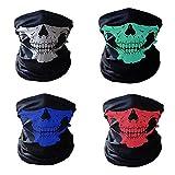 4 枚入 マスクスカル フェイス ネックウォーマー ハーフ フェイスマスク 防風/防塵 着脱簡単バイクに仮装 サバゲ ーに スカル/フェイス/マスク 男女兼用 (白+青+赤+緑)