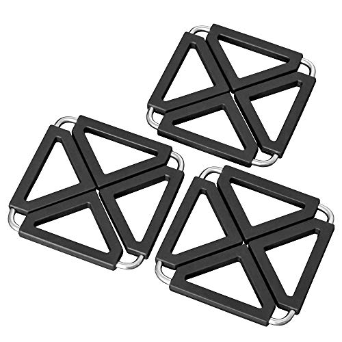 O-ishii Heatmaster+ 3er Set Aufklappbare Topfuntersetzer Metall-Design, hitzebeständig, 12x12cm bis 22x22cm, schwarz