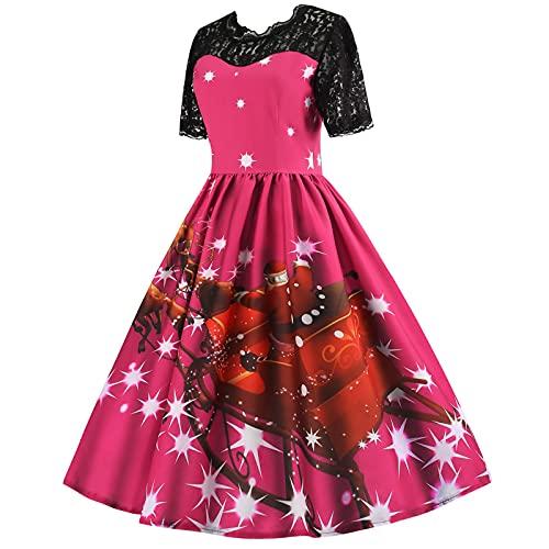 Womens Christmas Lace Party Dress Ladies Vintage Xmas Swing Pleated Skirt Dress Elegant Princess A-Line Dress