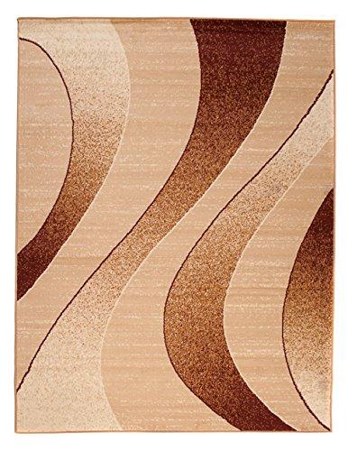Carpeto Modern Teppich Beige 300 x 400 cm Wellen Muster Kurzflor Monaco Kollektion