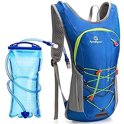 Spoligod Hydration Backpack, Lightweight Hydration Pack, Water Backpack with 2L Hydration Bladder, Suitable for Men Women Kids Biking?Hiking?Camping, Cycling, Riding and Music Festival (Black) (Blue)