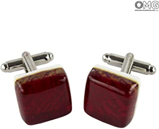 Cufflinks - Rosso - Original Murano Glass OMG