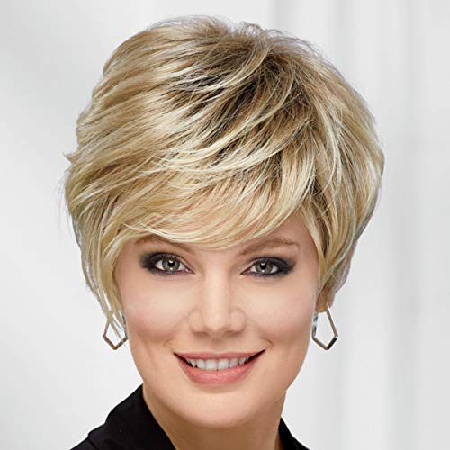 Victoria WhisperLite Wig by Paula Young - Edgy, Short Pixie Wig with An Asymmetrical Fringe and Rich, Feathery Layers / Multi-tonal Shades of Blonde, Silver, Brown, and Red