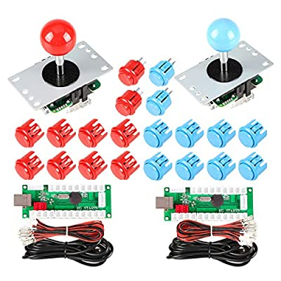 EG STARTS 2 Player USB Controller To PC Game 2x 5Pin Stick + 4x 24mm Push Button + 16x 30mm Buttons For Arcade Games DIY Cabinet Kits Parts Mame SNK KOF Raspberry Pi Retropie Projects & Red / Blue
