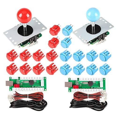 EG STARTS 2 Giocatori USB Controller per PC Game 2X 5Pin Stick + 4X 24mm + 16x 30mm Pulsanti per Giochi Arcade Kit armadietti Fai da Te Parti Mame SNK KOF Raspberry Pi Retropie Progetti e Rosso/Blu